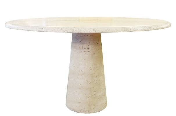 Travertine Circular Dining Table, 1960s