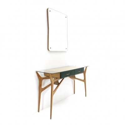 Italian mid-century console with mirror, 1950s
