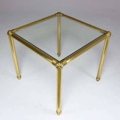 French Vintage Brass Glass Top Side Table, 1970's