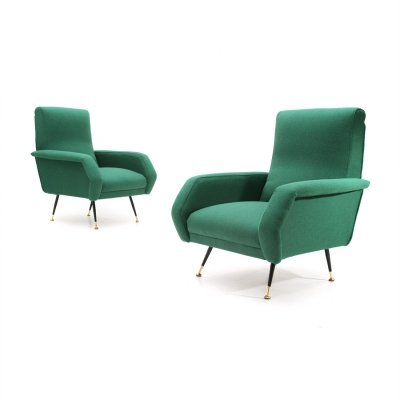 Pair of Italian mid-century green armchairs by Gigi Radice for Minotti, 1950s