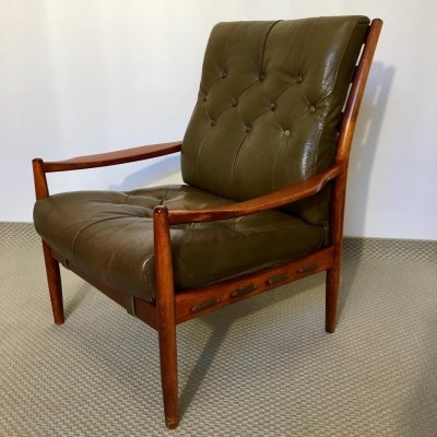Swedish Leather & Mahogany Läckö Easy Chair by Ingemar Thillmark for OPE, 1960s