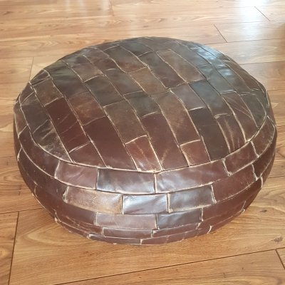 Leather patchwork pouf, 1960s
