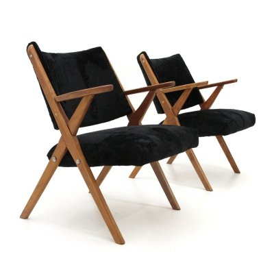 Pair of Italian mid-century black velvet armchairs by Dal Vera , 1950s