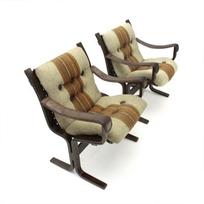 Pair of Plywood Armchairs by Ingmar Relling for Westnofa , 1970s