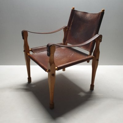 Cognac saddle leather Safari chair