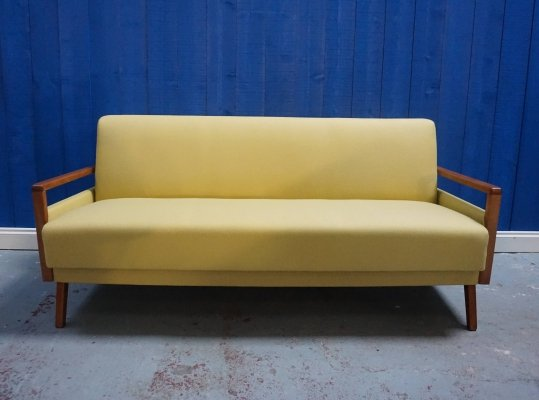 Mid Century Modern Sofa / Bed in Yellow, 1960's