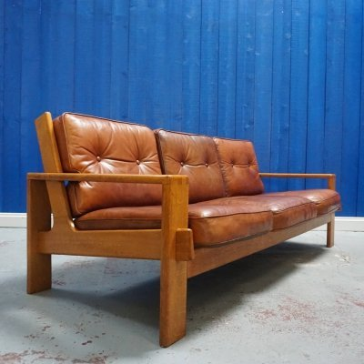 Vintage Bonanza Leather Sofa by Esko Pajamies for Asko, Finland 1960's