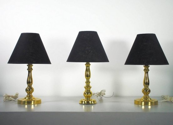Brass table lamps with new black shades