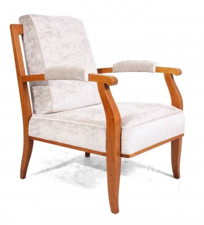 Vintage Cherry Wood Chair by Jules Leleu, c1950