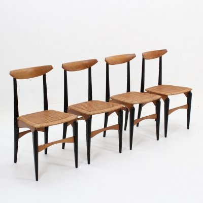 Mid century Italian design dining chairs with star seats, 1950s