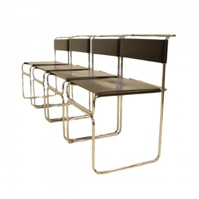 Set of 4 Leather Dining Chairs by Giovanni Carini for Planula, 1960s