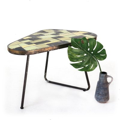 Heavy Mid-Century Garden Table with Tile Mosaic