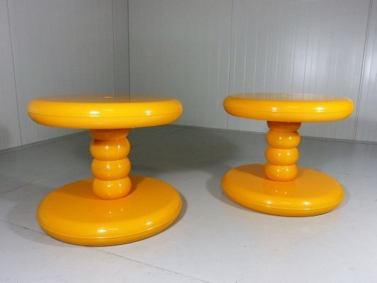 Yellow ABS Plastic Side Tables, 1960's