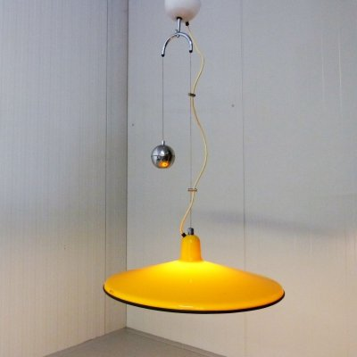 Yellow Adjustable Hanging Lamp by Harvey Guzzini, 1960's