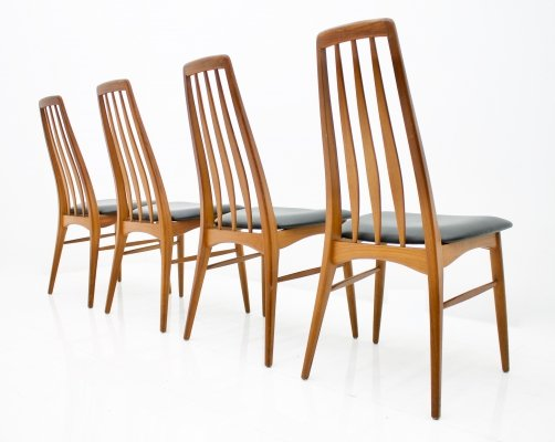Set of Four Teak & Leather 'Eva' Dining Chairs by Niels Kofoed