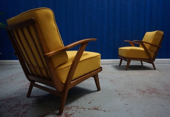 Pair of Mid Century Modern Lounge Armchairs in Yellow, 1950's