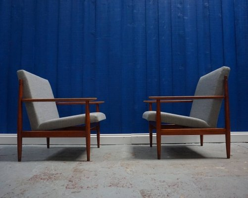 Pair of Mid Century Czech Armchairs in Grey, 1960s