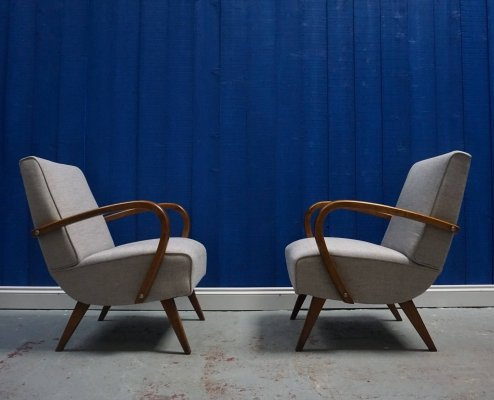 Pair of Mid Century Czech Bentwood Chairs in Grey, 1950s