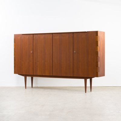 Very rare teak high sideboard with hinge-joints, 1960s