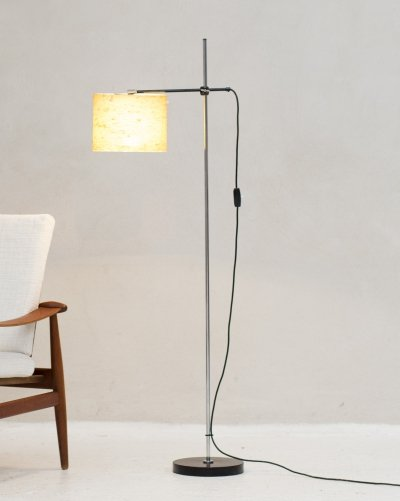 Floor lamp with jute shade & steel structure, Holland 1960s