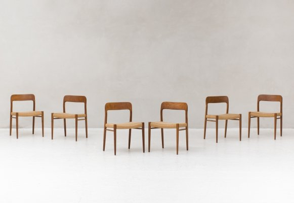 6 paper cord dining chairs by Niels O. Moller, Denmark 1950s