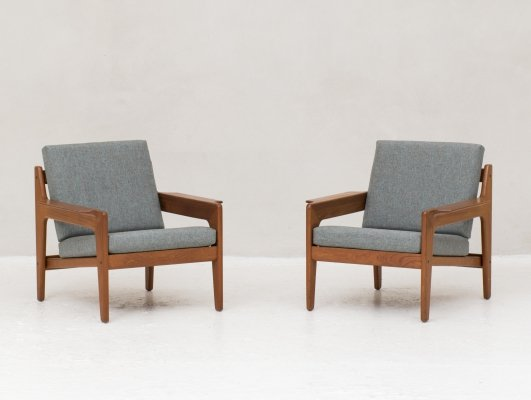 Set of blue grey easy chairs by Arne Wahl Iversen for Komfort, Denmark 1960s