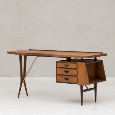 Rare writing desk by Louis van Teeffelen for Wébé, Netherlands 1950s