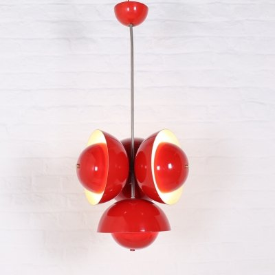 Red lacquered midcentury pendant lamp