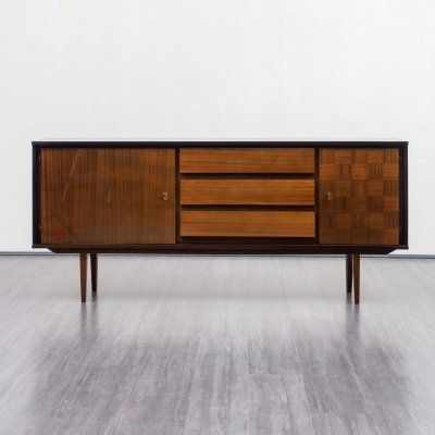 Midcentury Mahogany sideboard with checkerboard pattern
