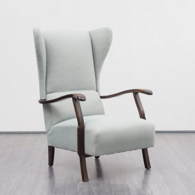Midcentury Wing Chair in Pastel Green Fabric