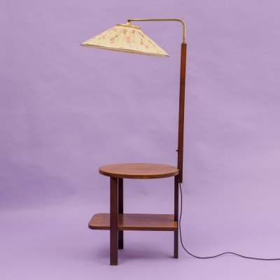 Midcentury Floor Lamp With Integrated Dark Beech Side Table