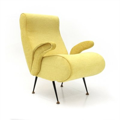 Italian mid-century armchair with yellow fabric, 1950s