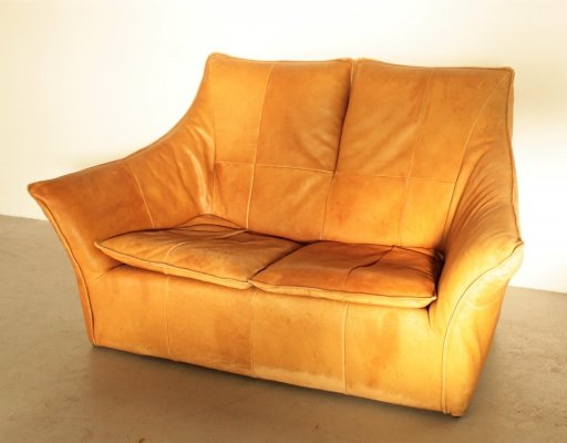 Very rare Montis 2-seater in cognac leather by Gerard van den Berg