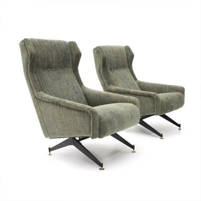 Pair of Italian mid-century armchairs with green fabric, 1950s