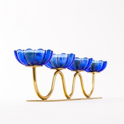 Blue candelabra by Gunnar Ander for Ystad Metall, 1950s