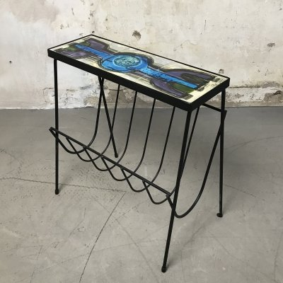 Vintage Belarti Side Table with Magazine Rack, 1960s