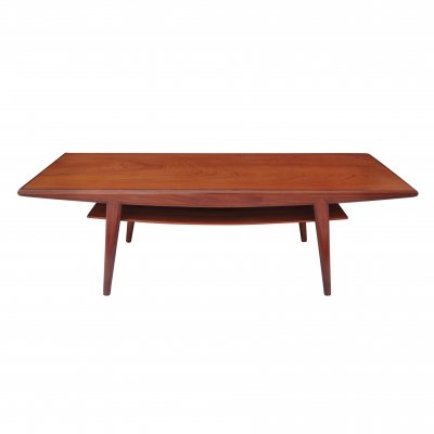 Mid-Century Long Danish Teak Coffee Table with Shelf, 1960s