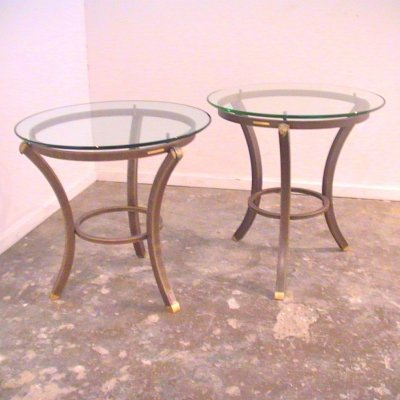 Pair of French Metal & Brass Gueridons by Pierre Vandel, 1970s