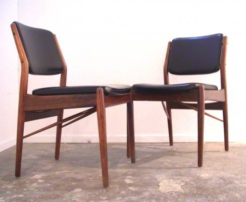 Pair of Arne Vodder dining or desk chairs for Sibast Furniture, Denmark