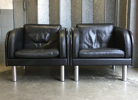 Pair of leather Jorgen Gammelgaard armchairs by Erik Jørgensen Møbelfabrik