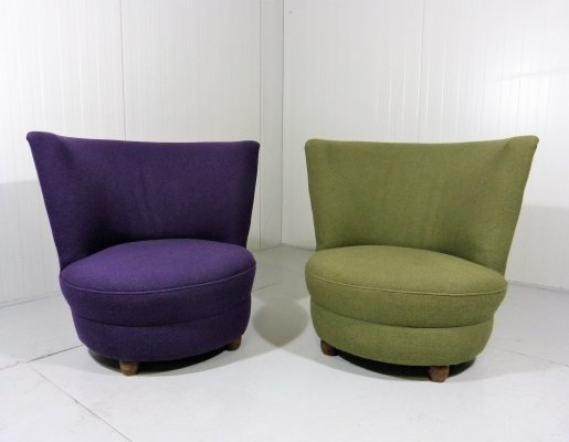 Pair side chairs in purple & green, 1930's