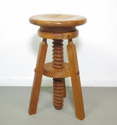Pinewood piano stool, 1970s