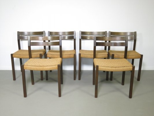 Set of 6 Wengé wooden 'No 401' dining chairs with papercord seating by Jorgen Henrik Møller