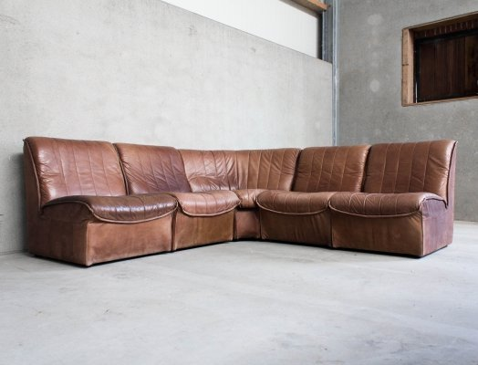 Modular Sofa in Cognac Brown Leather