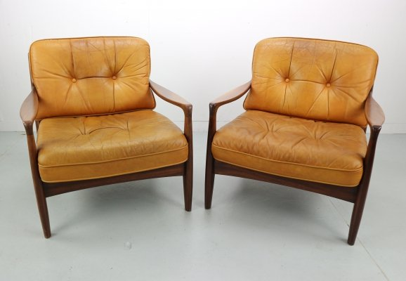 Set of Two Vintage Cognac Leather Lounge Chairs, 1960s