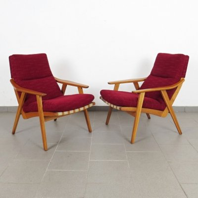 Pair of ÚĽUV Praha arm chairs, 1960s
