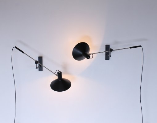 Pair of black 7105 counter balance wall lights by J. Hoogervorst for Anvia Almelo
