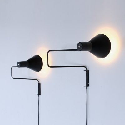 Pair of Paperclip elbow wall lights by J. Hoogervorst for Anvia Almelo