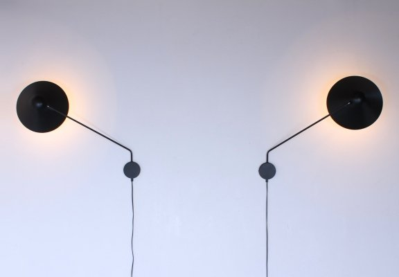 Pair of swinging arm wall light by H. Busquet for Hala Zeist, 1960s
