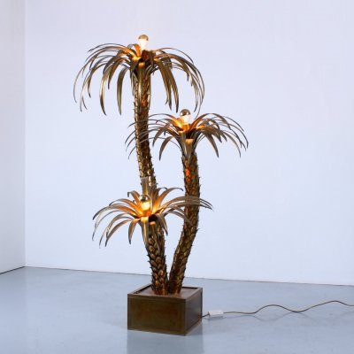 Giant brass palm tree floor light by Maison Jansen, 1960s